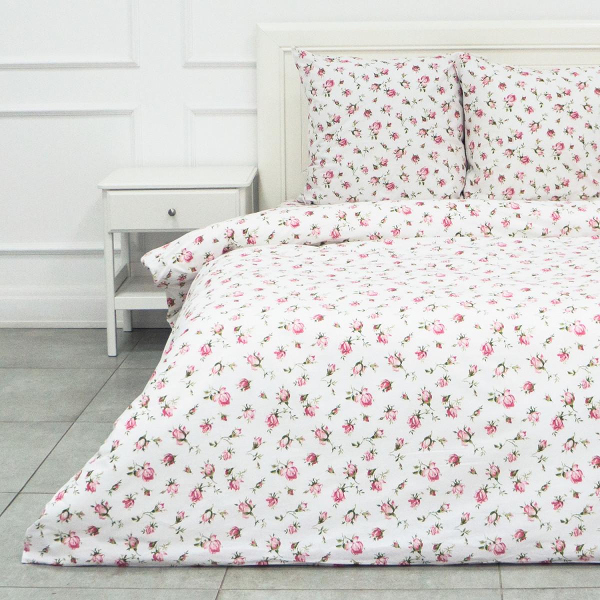Комплект Постельного Белья Розовые Бутоны Двуспальный Бязь 70x70