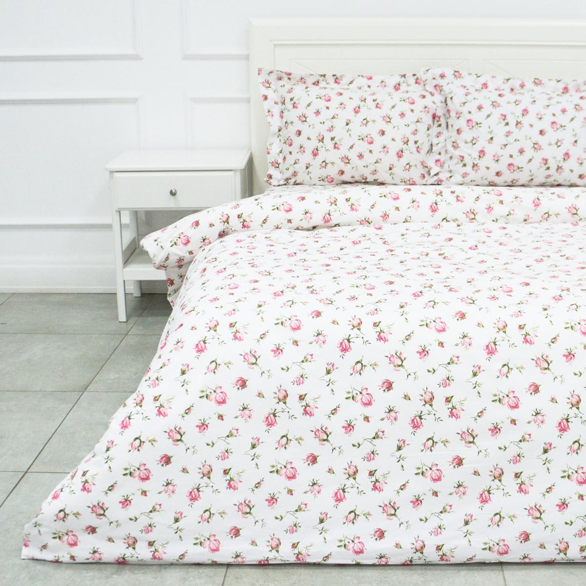 Комплект Постельного Белья Розовые Бутоны Евро Бязь 50x70