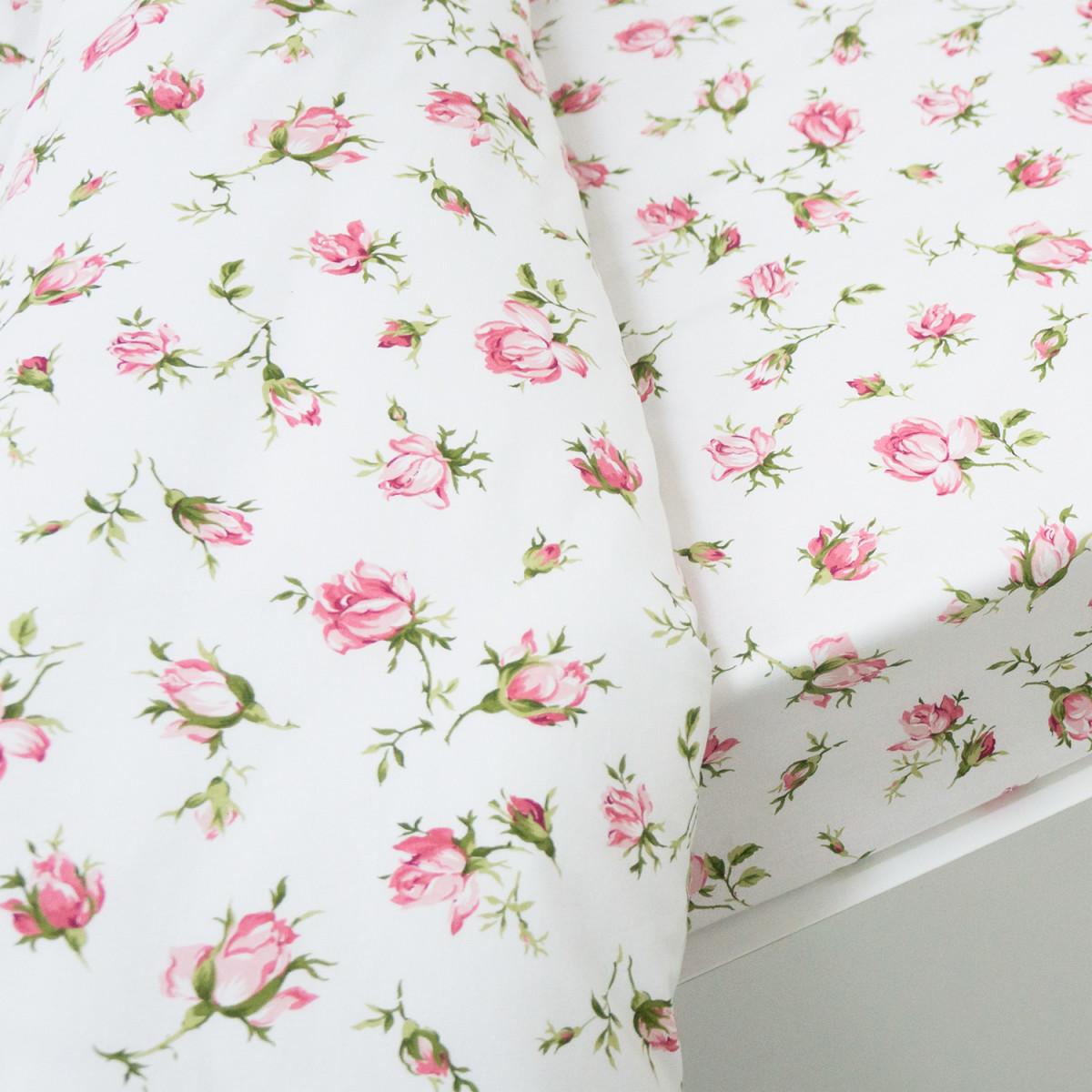 Комплект Постельного Белья Розовые Бутоны Евро Бязь 70x70