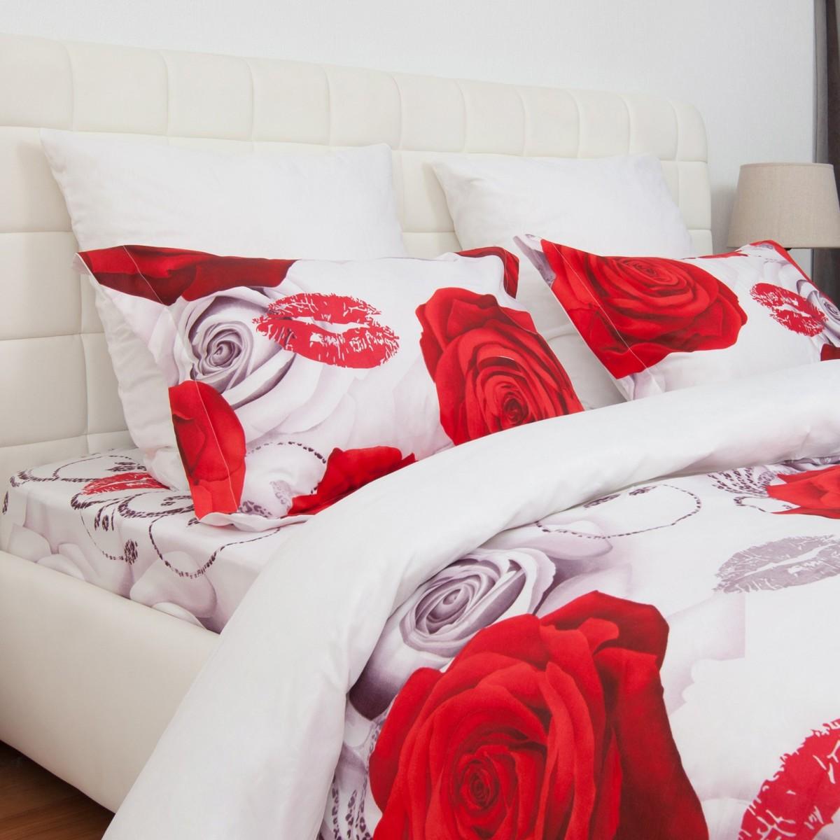 Комплект Постельного Белья Роза Букет Евро Микрофибра