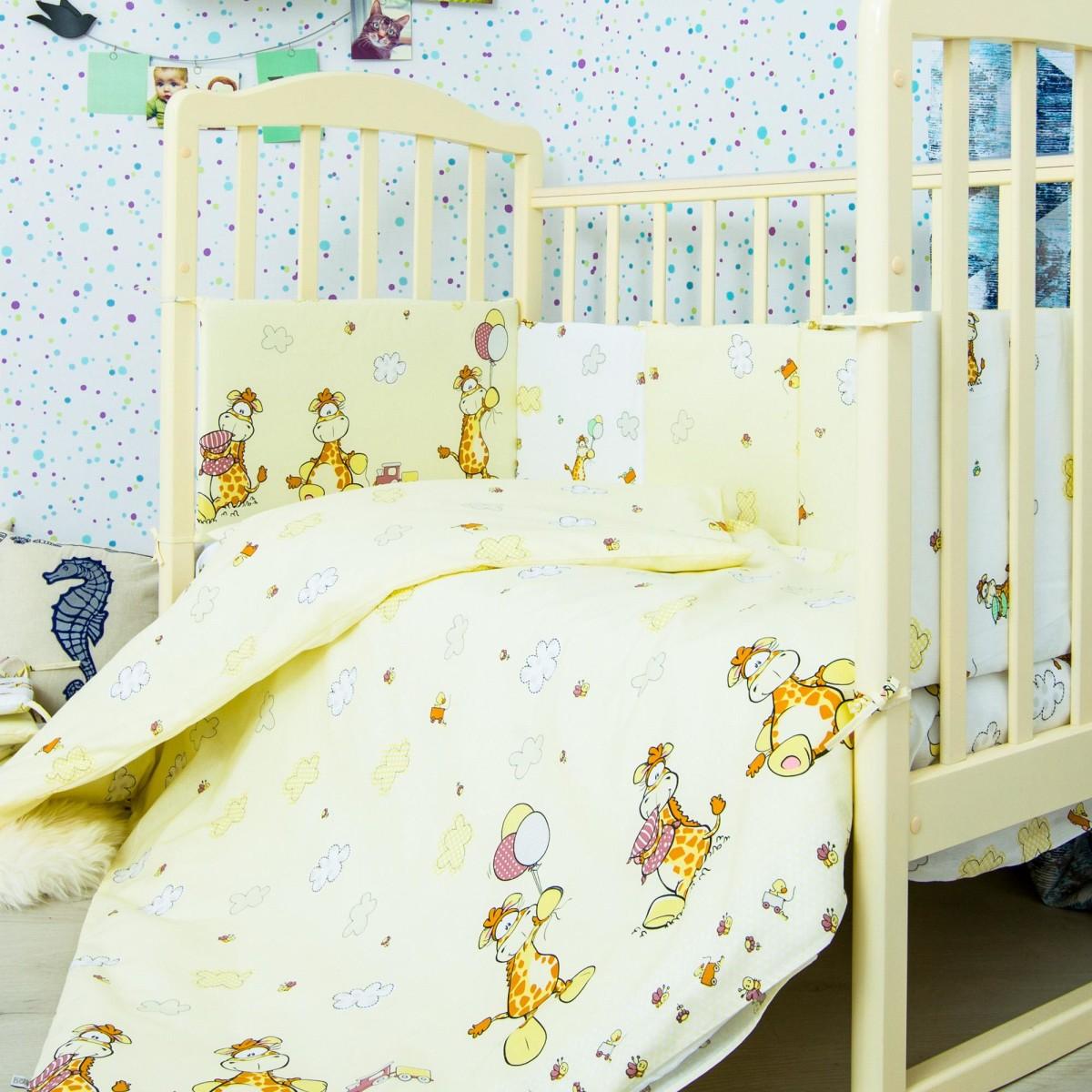 Комплект Постельного Белья Жирафик В Кроватку Бязь 6 Предм