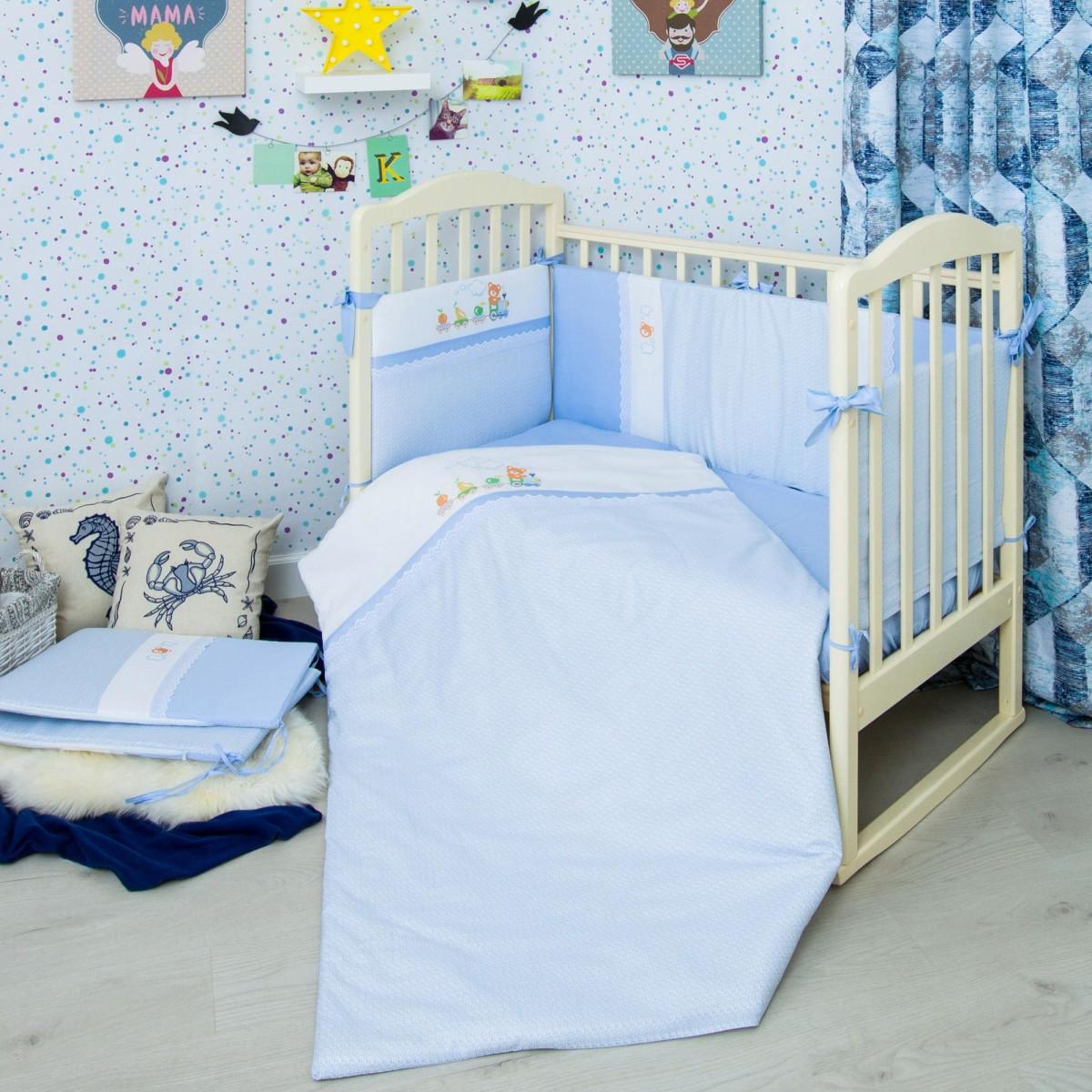Комплект постельного белья Паровозик в кроватку сатин 6 предм.