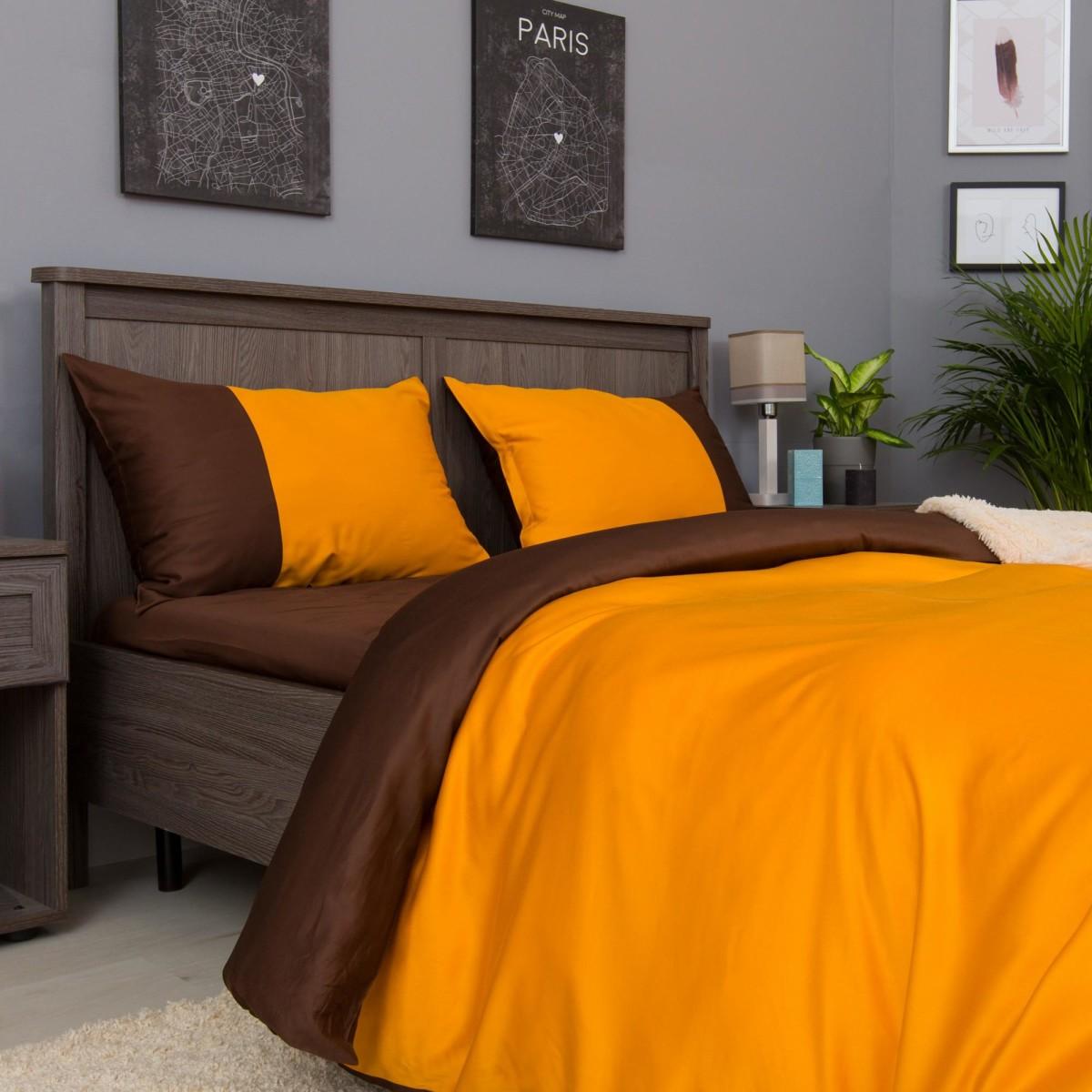 Комплект Постельного Белья Orange-Choco Fresh Евро Сатин