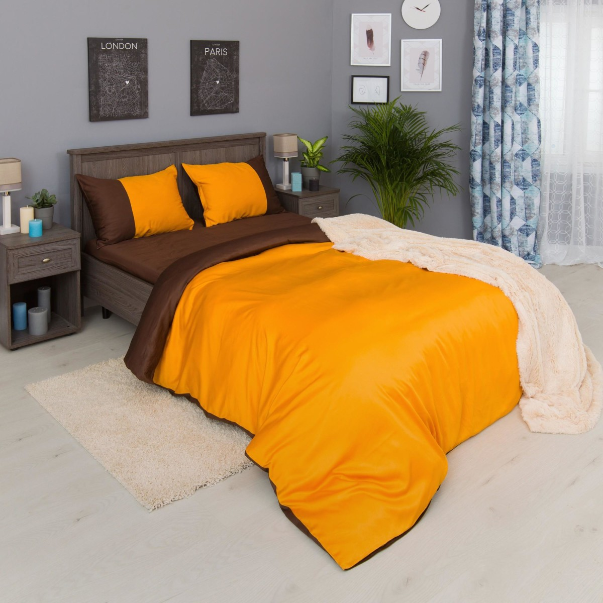 Комплект Постельного Белья Orange-Choco Fresh Семейный Сатин