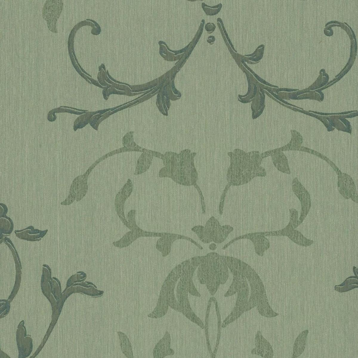Обои текстильные Rasch Selected зеленые 0.53 м 79578