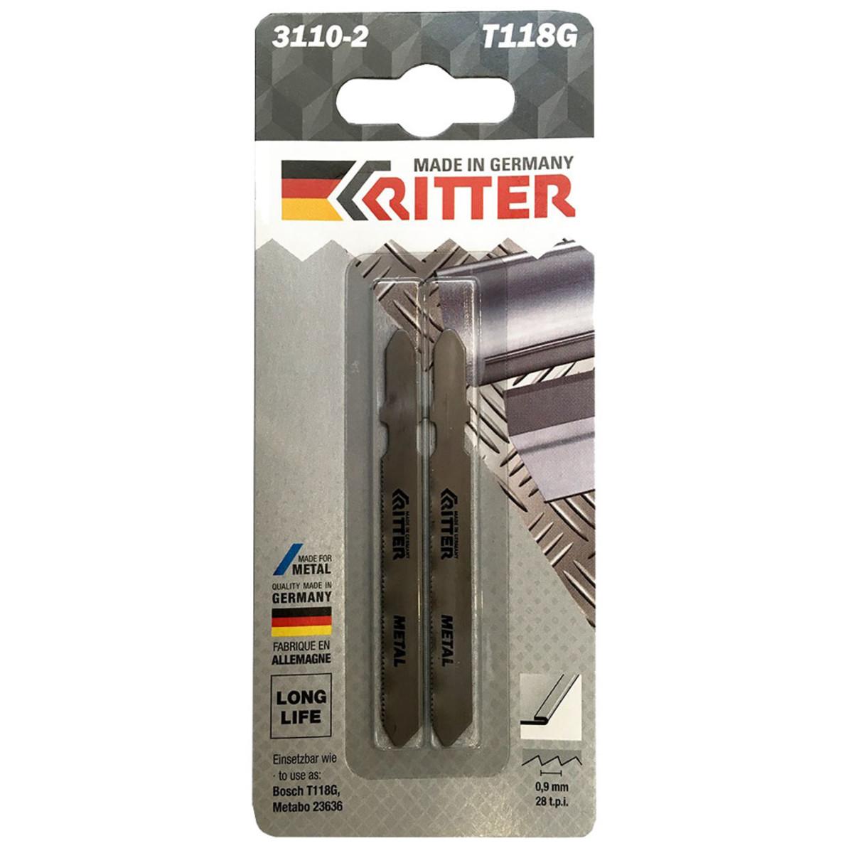 Пилки для лобзиков Ritter по стали Т118G HSS 75/50мм шаг 0.9 мм 28TPi 2 шт блистер