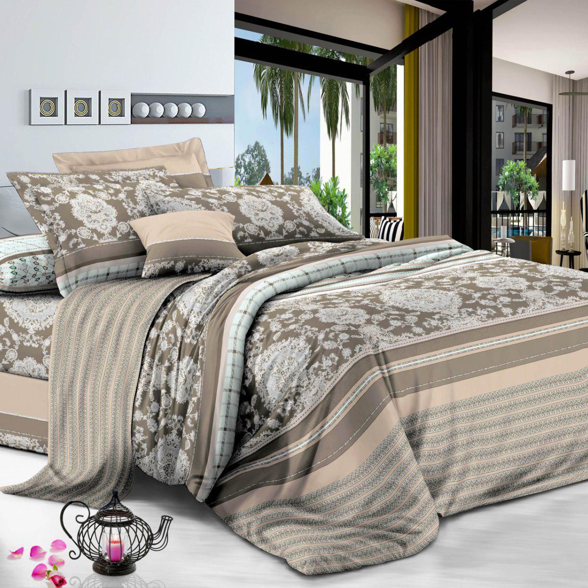 Комплект постельного белья Letto семейный сатин 50x70 70x70 см