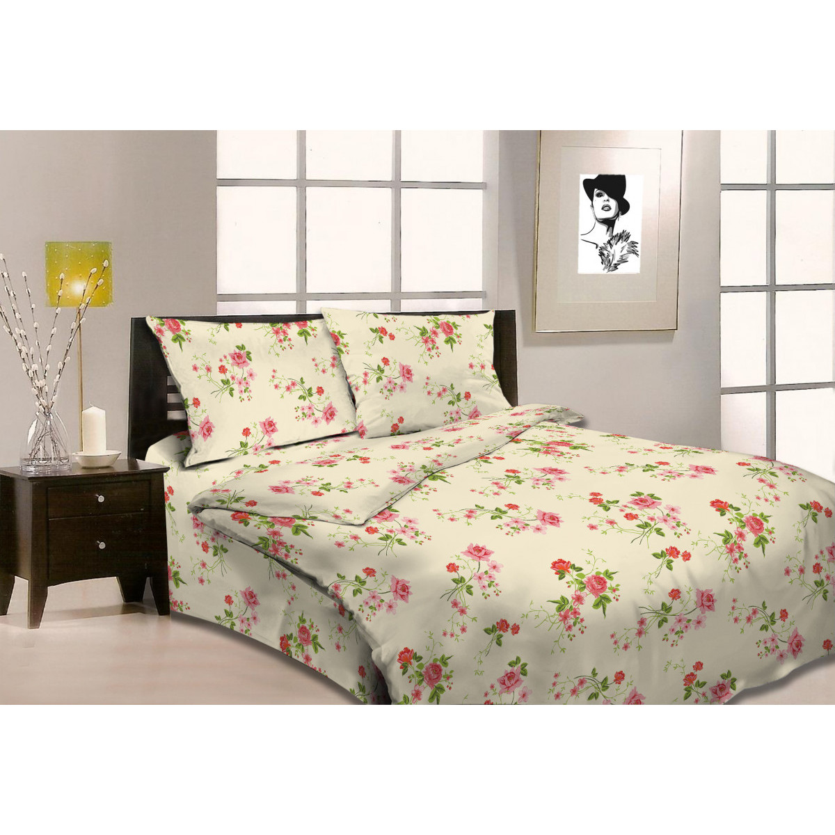Комлплект постельного белья полутораспальный «Queen Butterfly» бязь 50x70 см