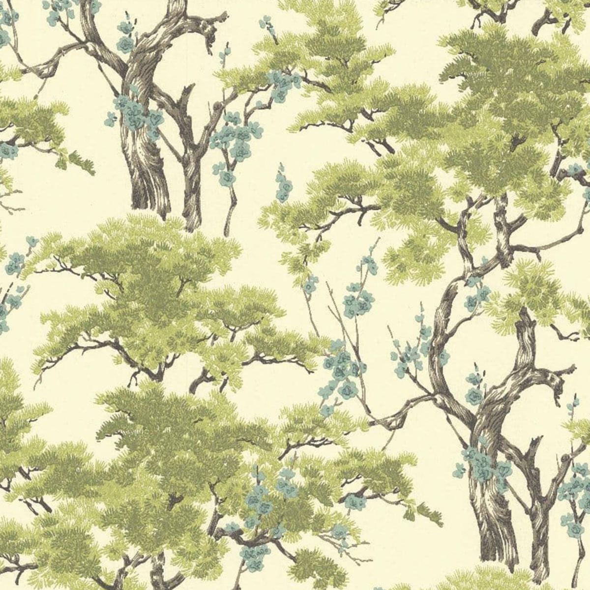 Обои флизелиновые 1838 Wallcoverings Avington зеленые 0.53 м 1602-100-06