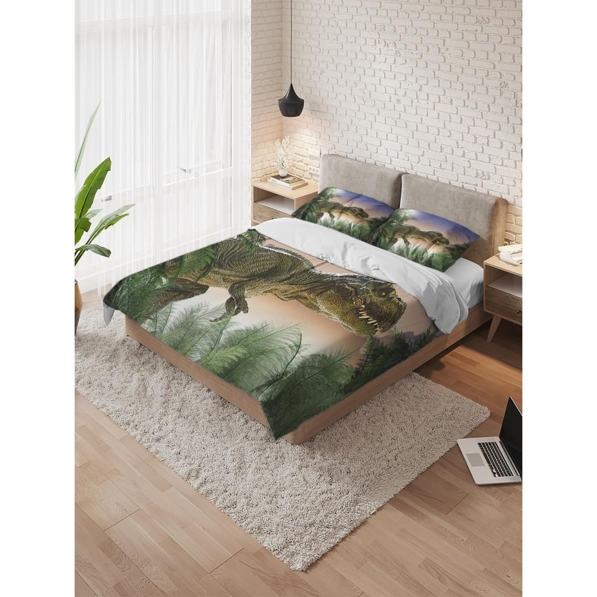 Комплект пододеяльника с наволочками AMBESONNE «Динозавр на охоте» полутораспальный микрофибра