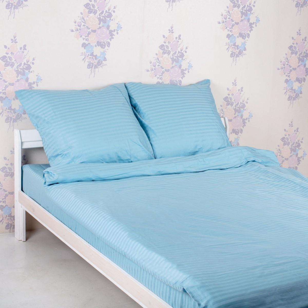 Комплект постельного белья 37 Текстиль Голубой двуспальный сатин