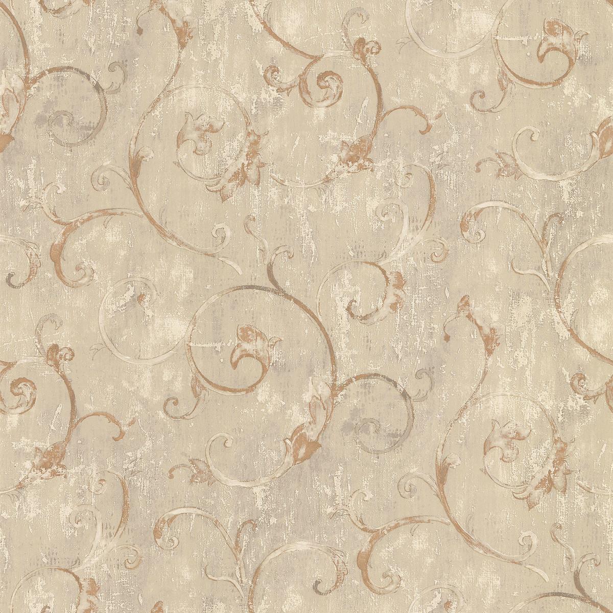 Обои виниловые Aura Silks &amp Textures бежевые 0.53 м FT23547