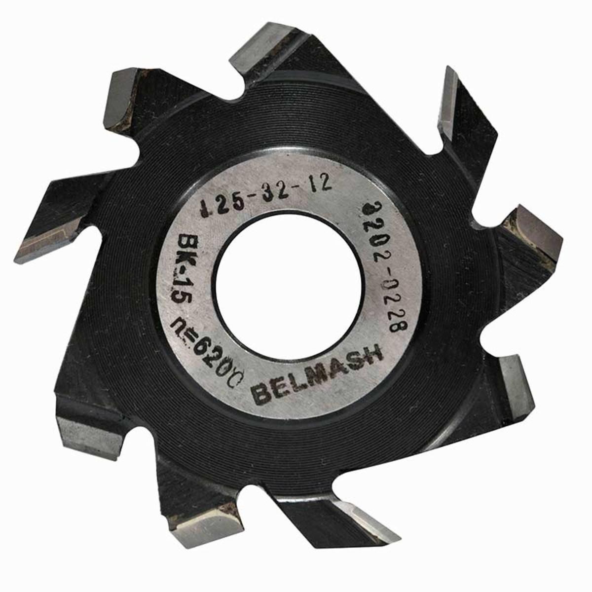 Фреза дисковая пазовая по дереву BELMASH 125x32x12 мм с подрезающими зубьями 9 зубьев