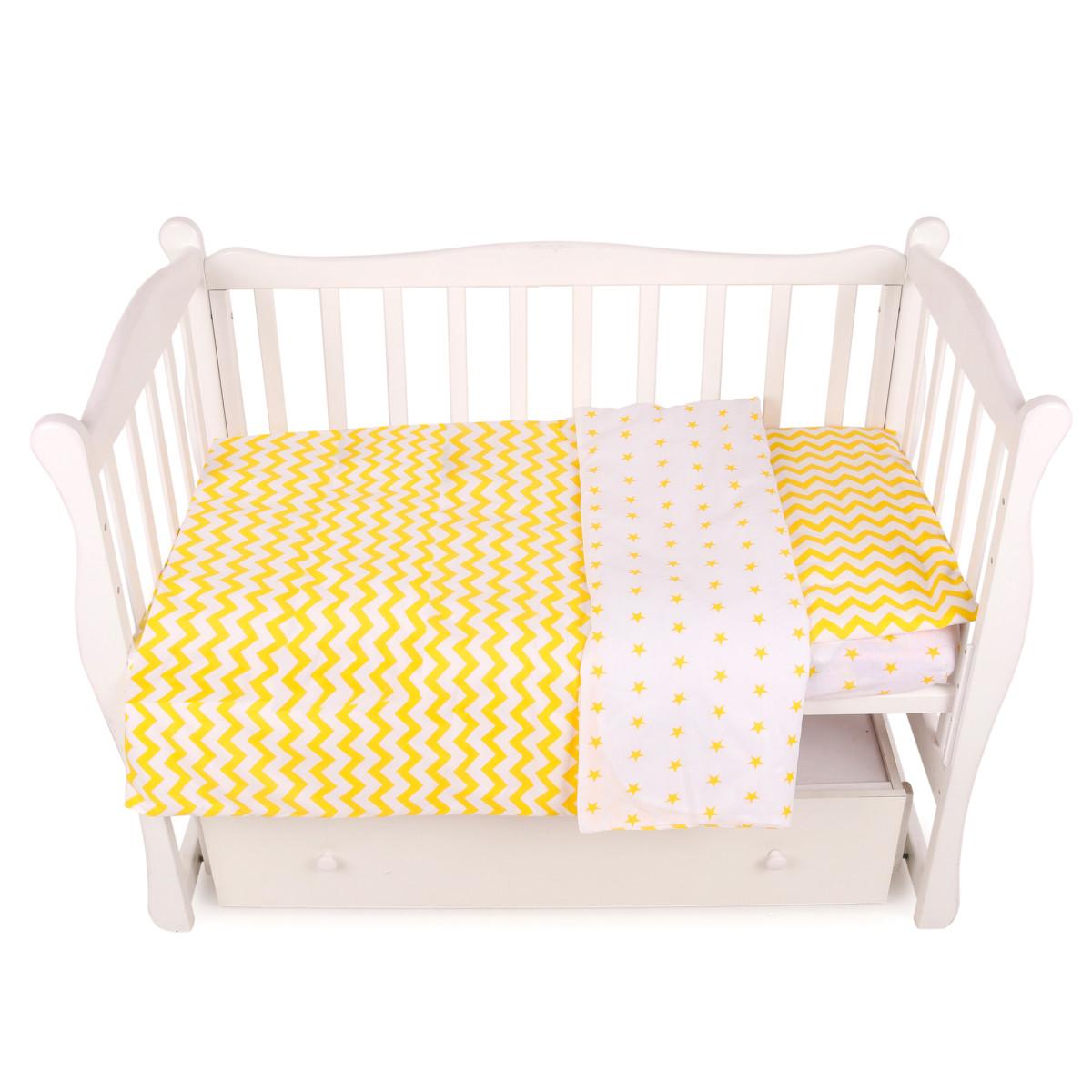 Комплект постельного белья AmaroBaby Baby Boom Желтый Зигзаг в кроватку бязь 3 предмета
