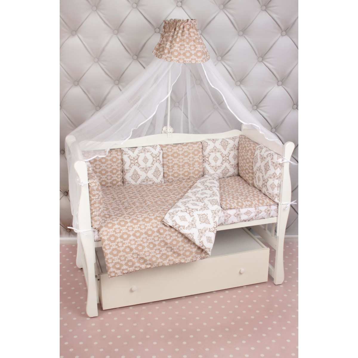 Комплект постельного белья AmaroBaby Короны в кроватку бязь 19 предметов