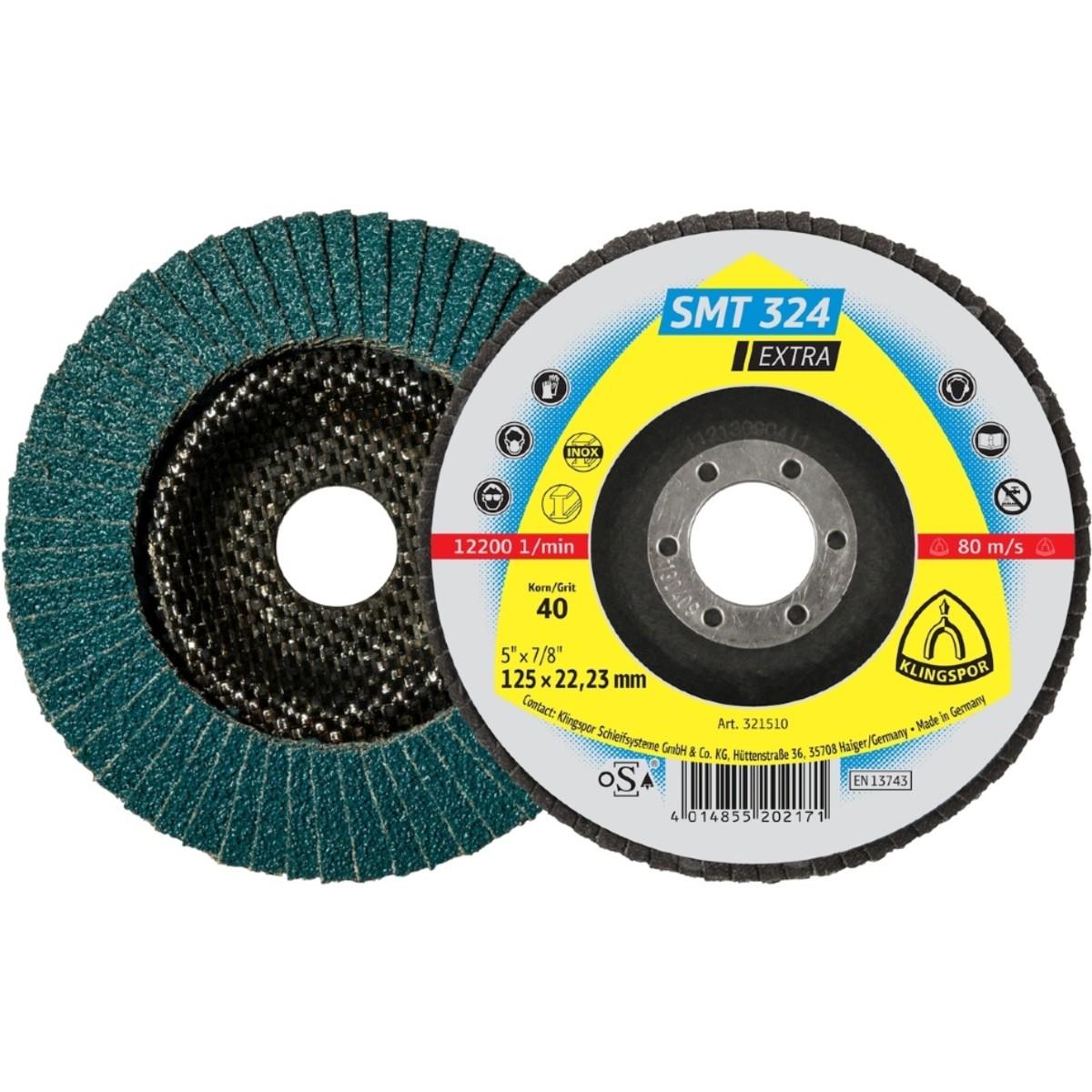 Лепестковый торцевой круг Klingspor Extra SMT 324 125 мм плоский P40 10 шт 321646 10 шт