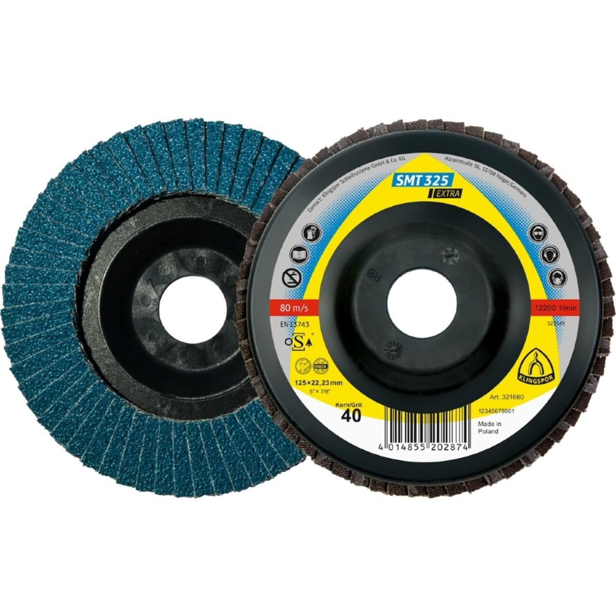 Лепестковый торцевой круг Klingspor Extra SMT 325 125 мм плоский P80 10 шт 321658 10 шт