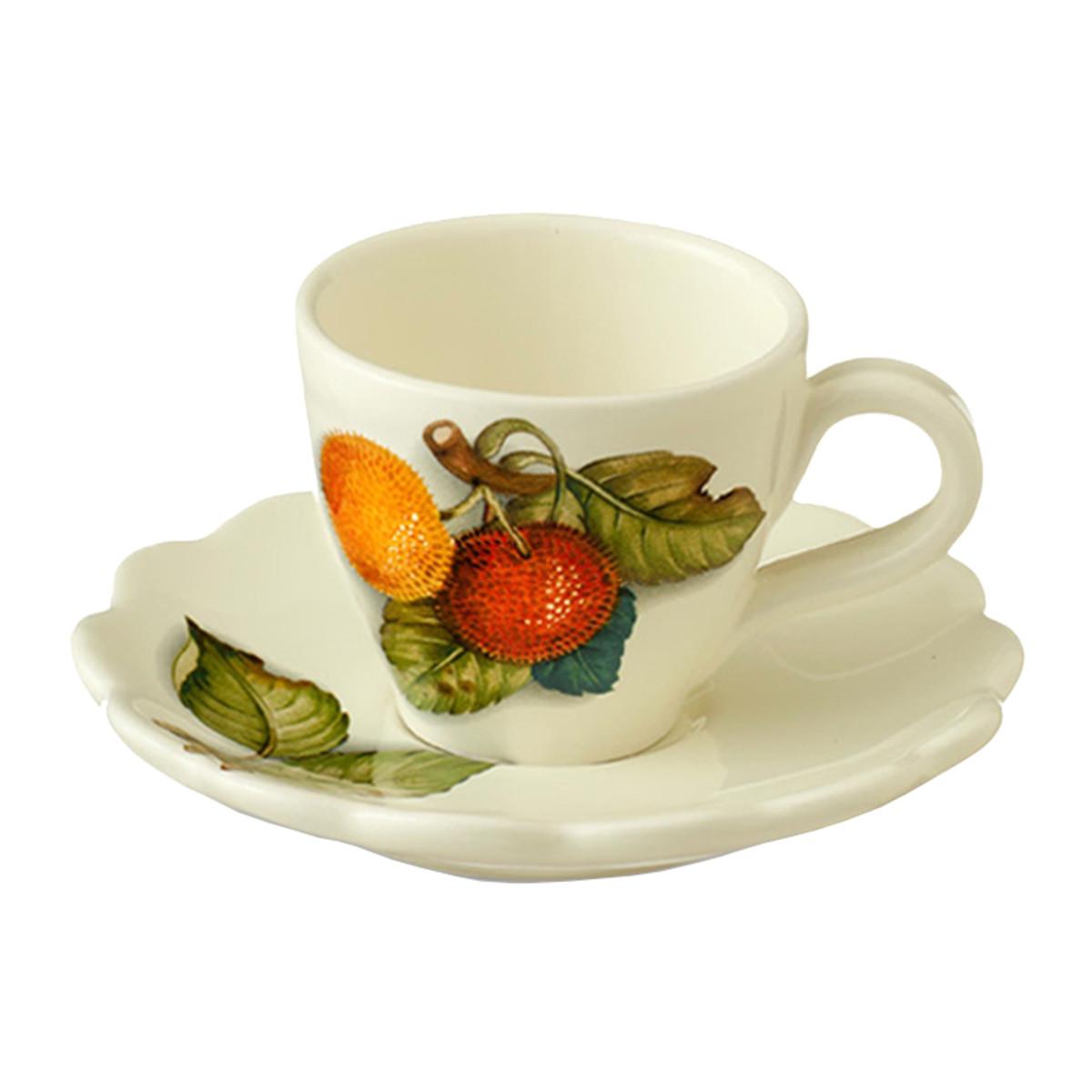 Чашка с блюдцем Nuova Cer Итальянские фрукты NC7417-CEM-AL 300 мл