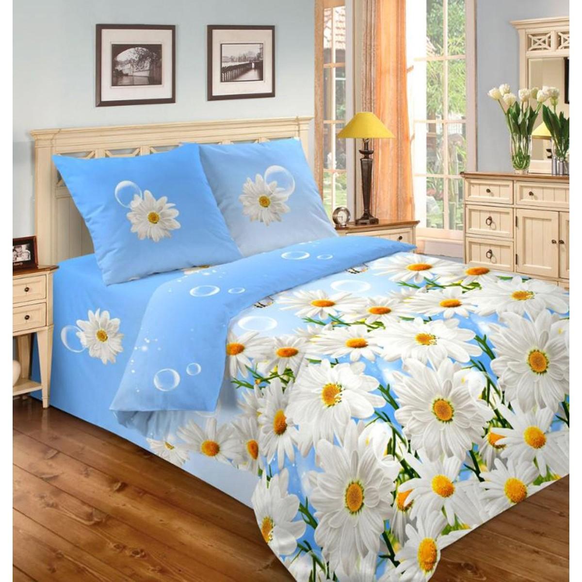 Комплект Постельного Белья Полутораспальный Diana Ромашки Голубые  Микрофибра