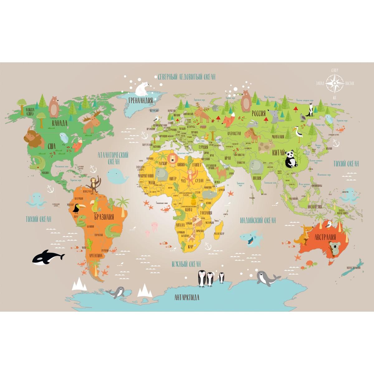 Панно DeliceDecor Детская карта М 002 300х200 см