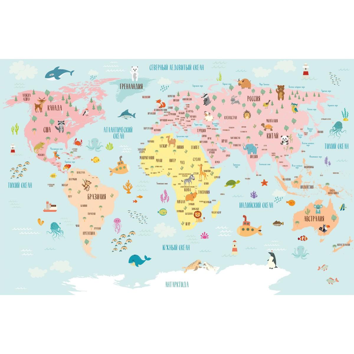 Панно DeliceDecor Карта для детей М 004 300х200 см