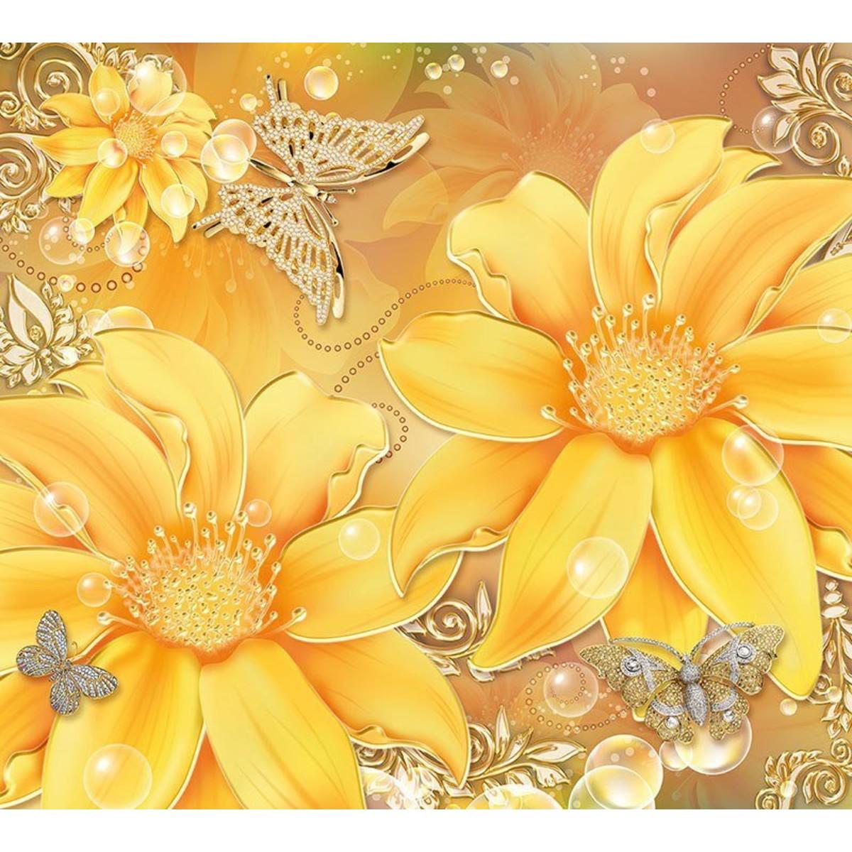 Фотообои DeliceDecor Золотые цветы Ф 163 300х270 см