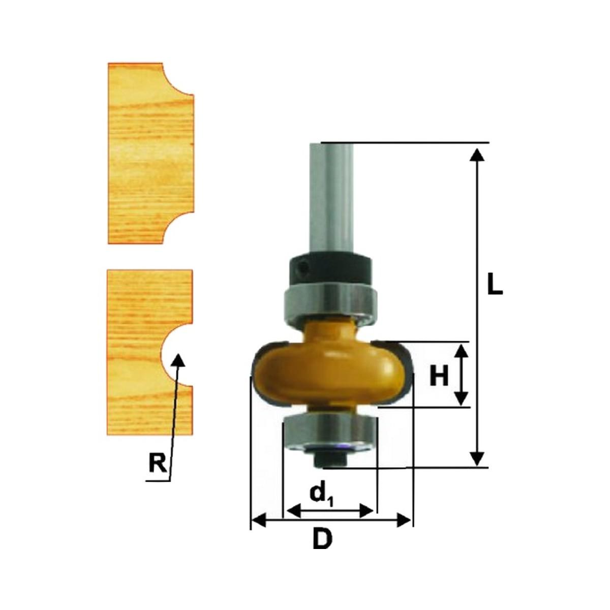 Фреза кромочная галтельная ЭНКОР 46391 ф25.4х9.5 мм R4.8 мм 8 мм