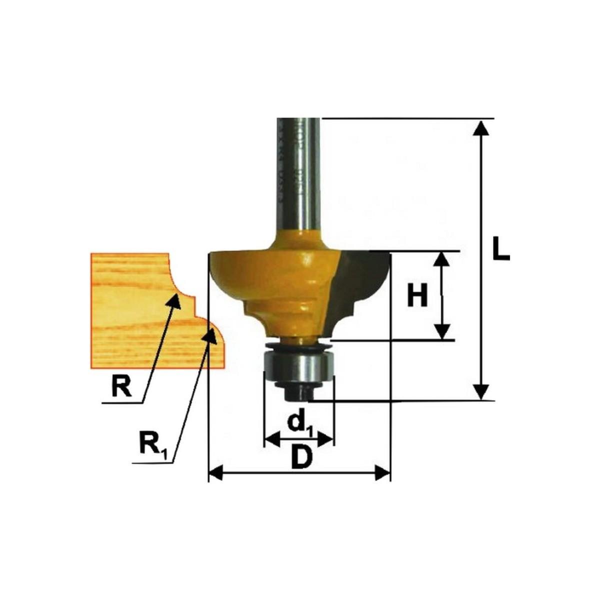 Фреза кромочная калевочная ЭНКОР 46261 ф33.4х15.9 мм R6.4/4 мм 8 мм