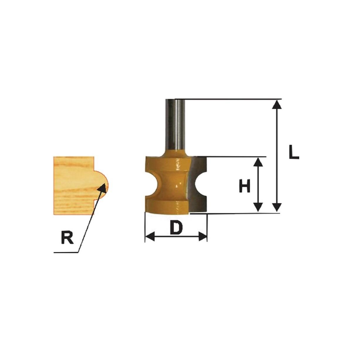 Фреза кромочная полустержневая ЭНКОР 46471 ф25.4 мм R4.8 мм 8 мм