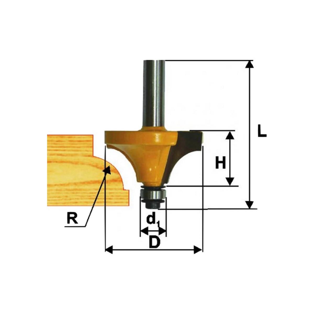 Фреза кромочная калевочная ЭНКОР 46246 ф22.3х12.5 мм R4.8 мм 8 мм