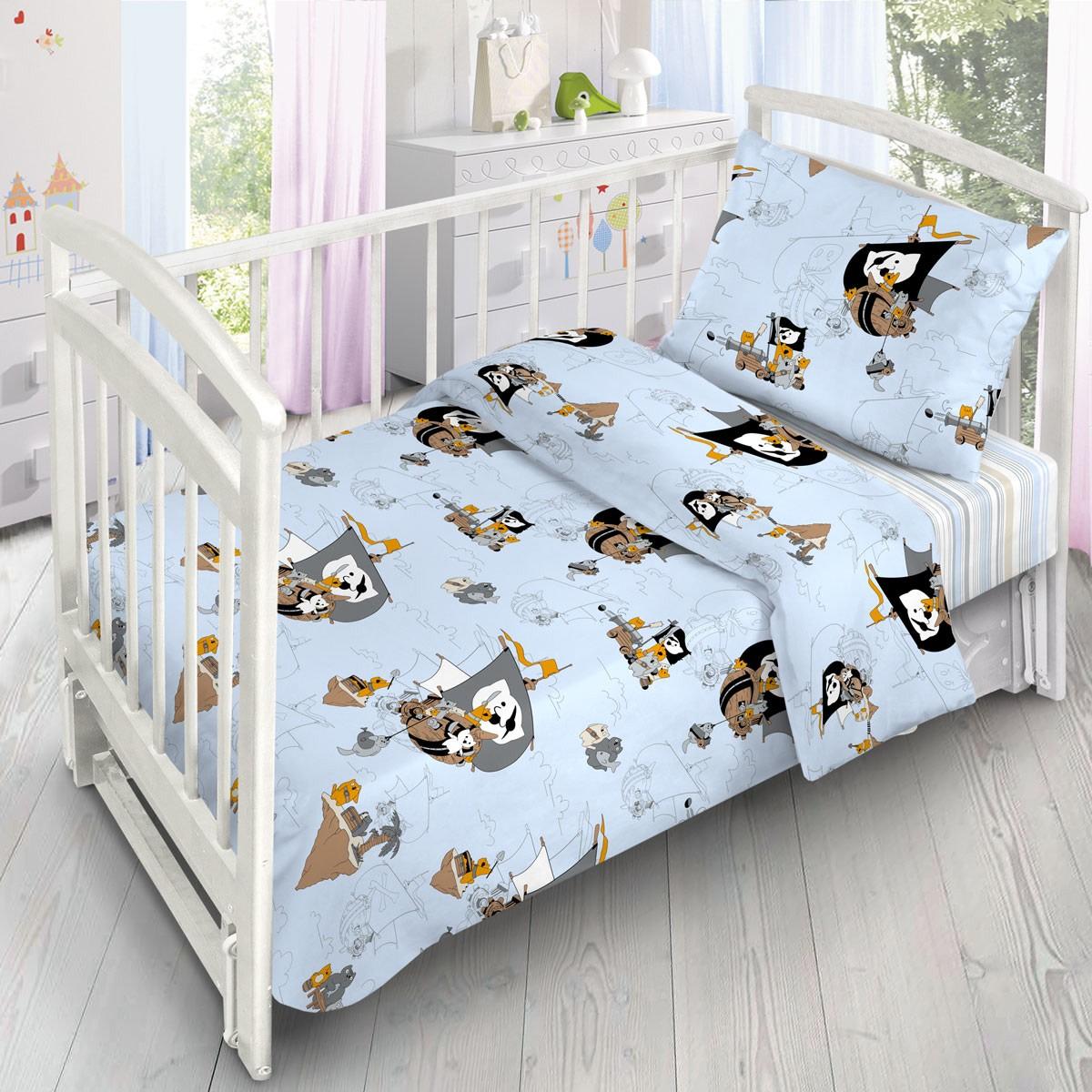 Комплект Постельного Белья В Кроватку Ночь Нежна Коты-Пираты Поплин