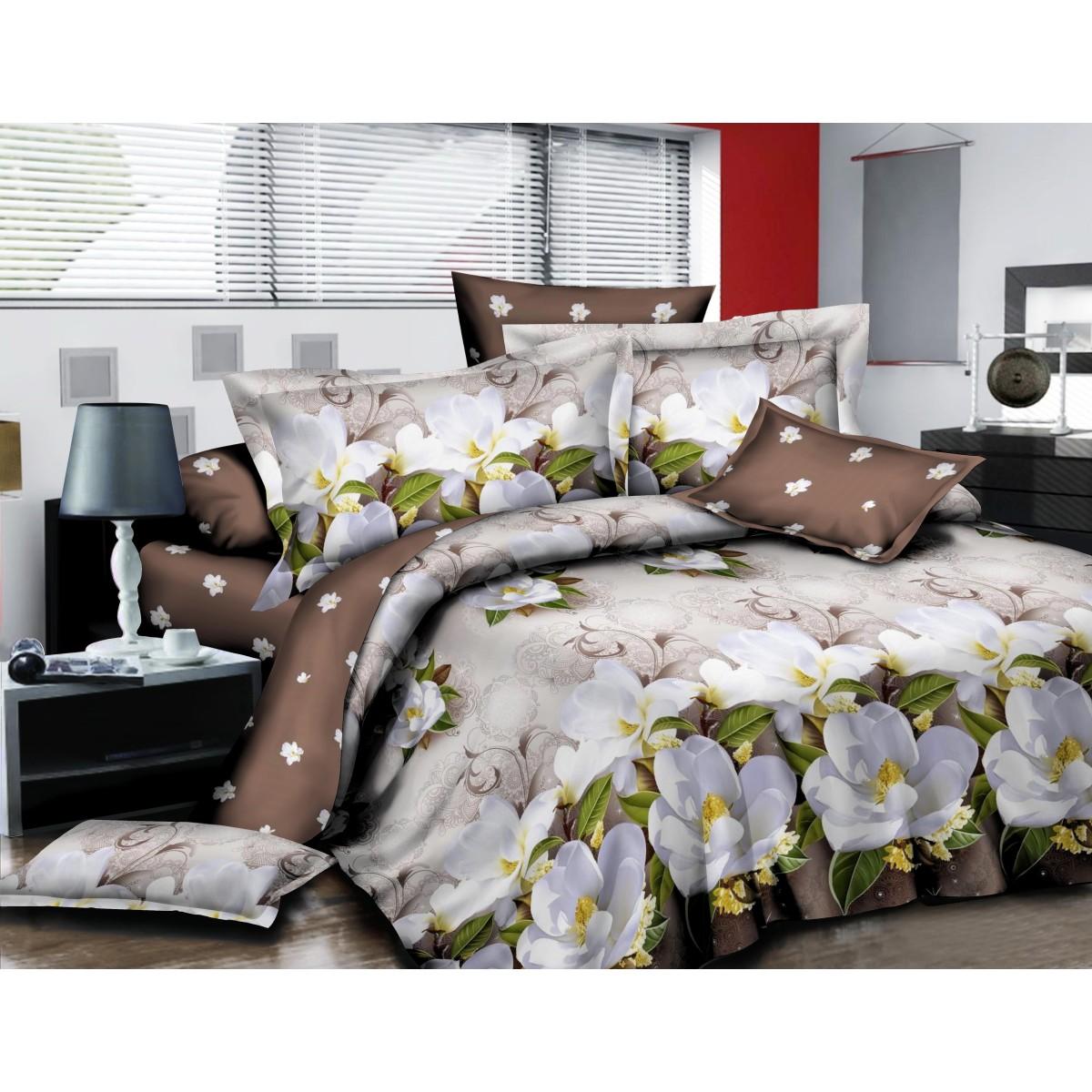 Комплект Постельного Белья Семейный Кот Баюн Орхидея Поплин