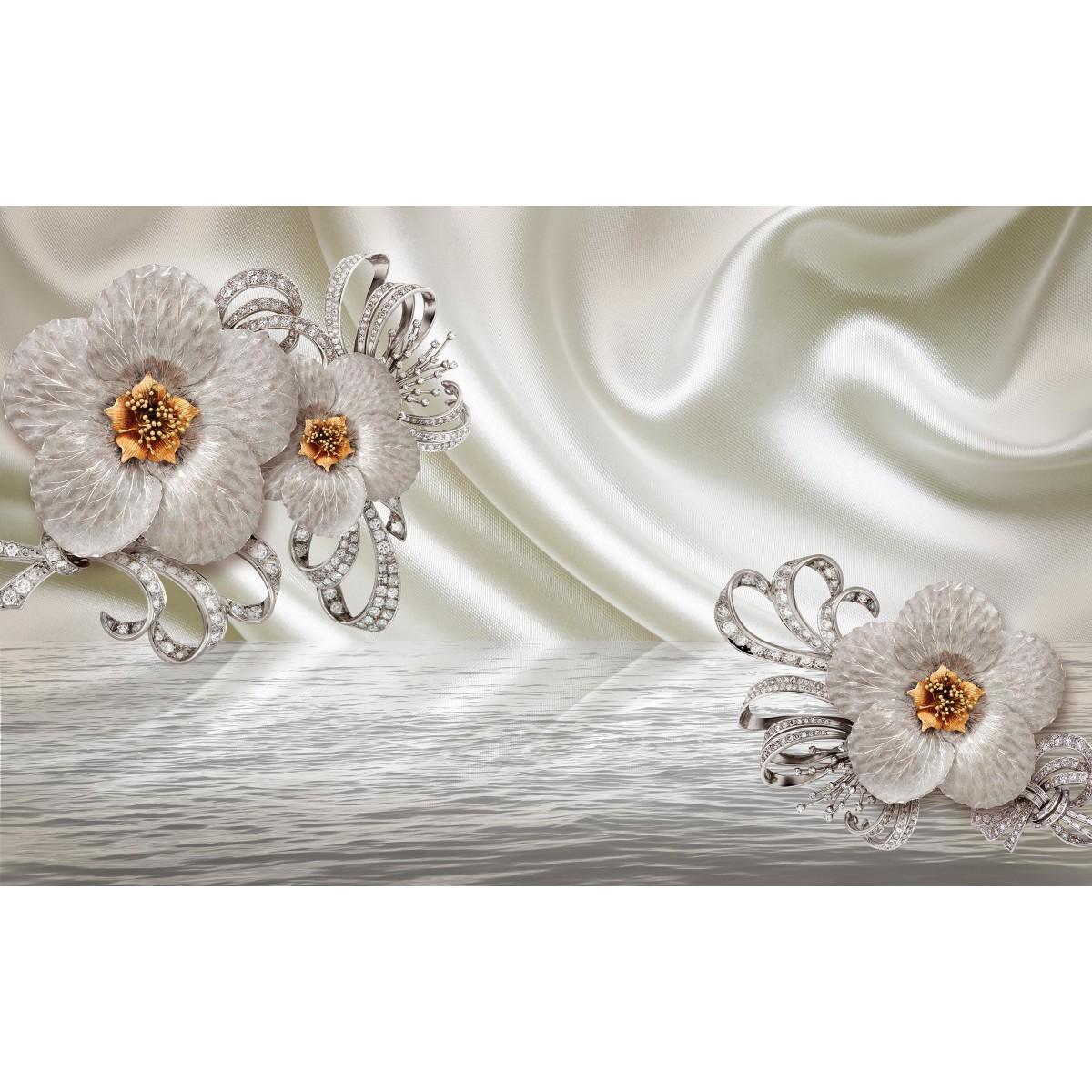 Фотообои WonderWall 3D Серебряные цветы 101 280х450см