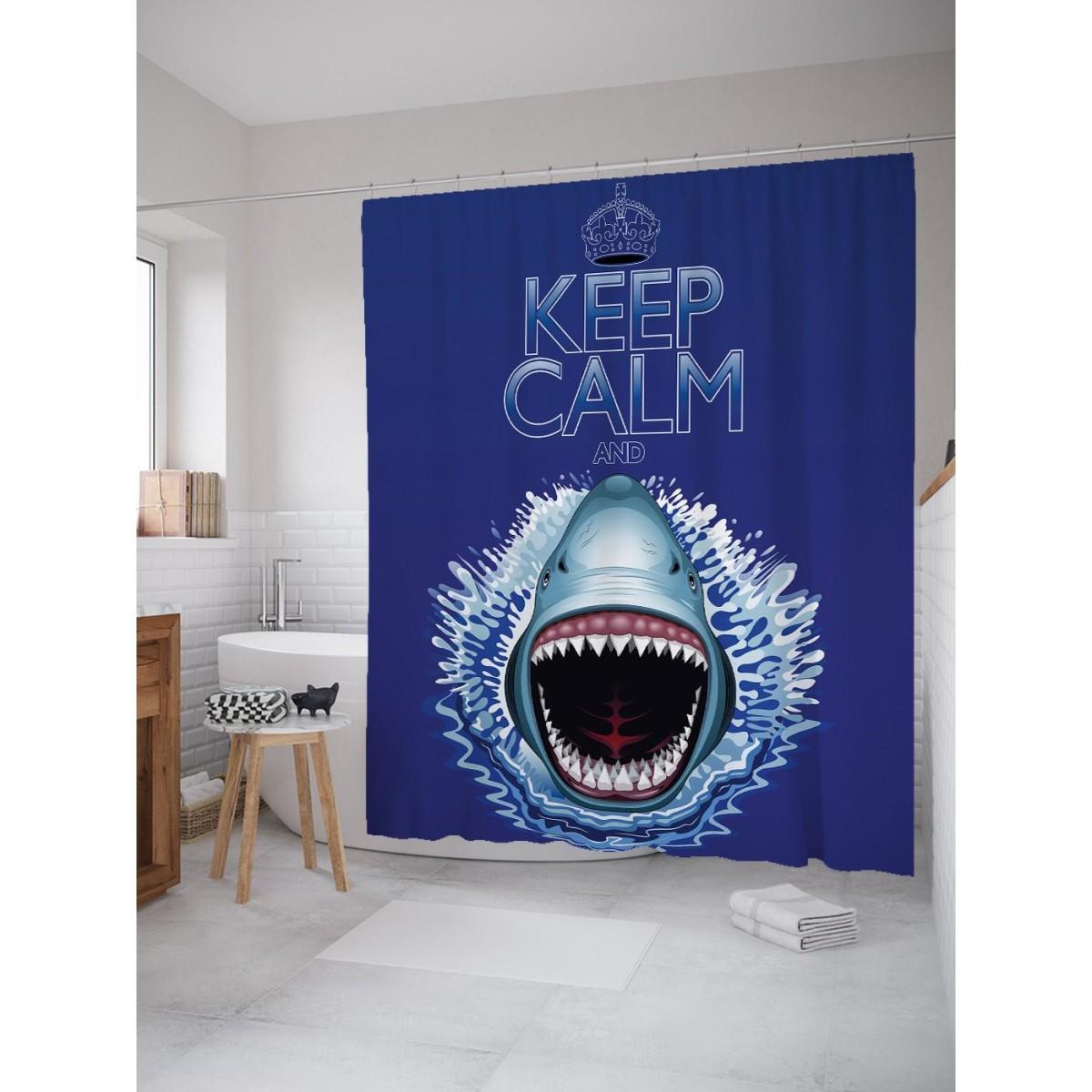 Шторка для ванной Ambesonne Акула нападает 180х200 см