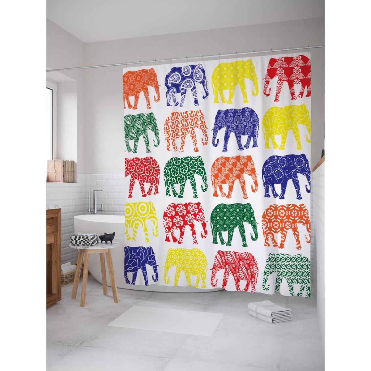 Шторка для ванной Ambesonne Узоры для всех слонов 180х200 см
