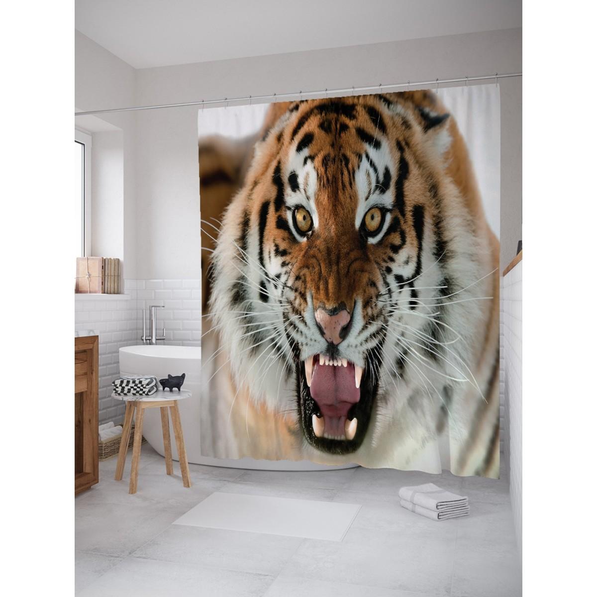 Шторка для ванной Ambesonne Агрессивный тигр 180х200 см