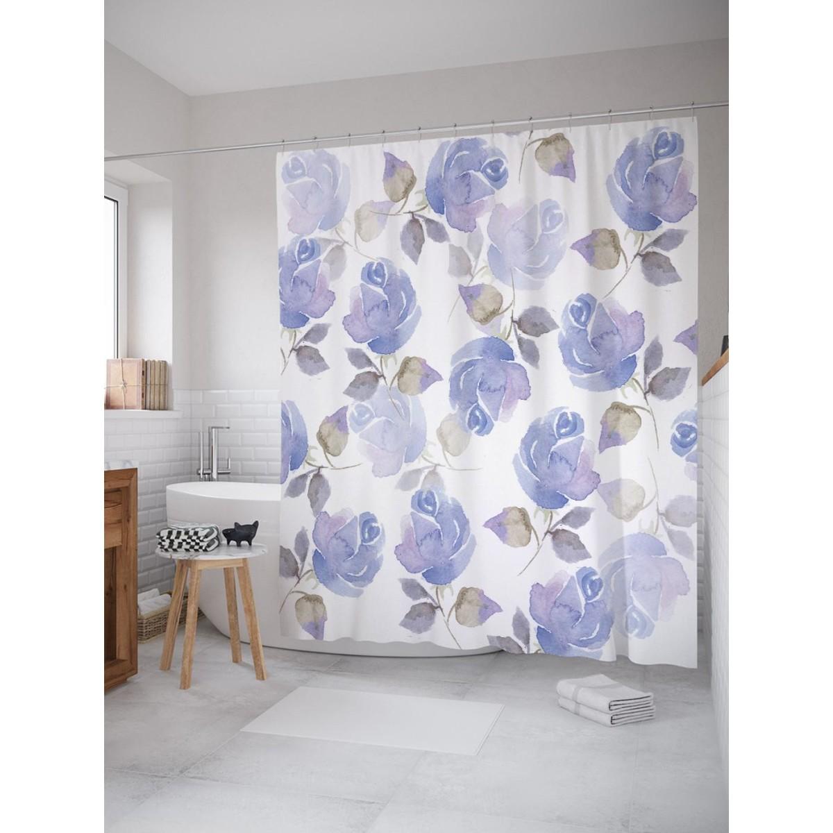 Шторка для ванной Ambesonne Леденящие цветы 180х200 см