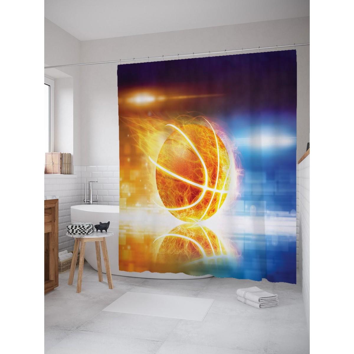 Шторка для ванной Ambesonne Пламенный баскетбол 180х200 см