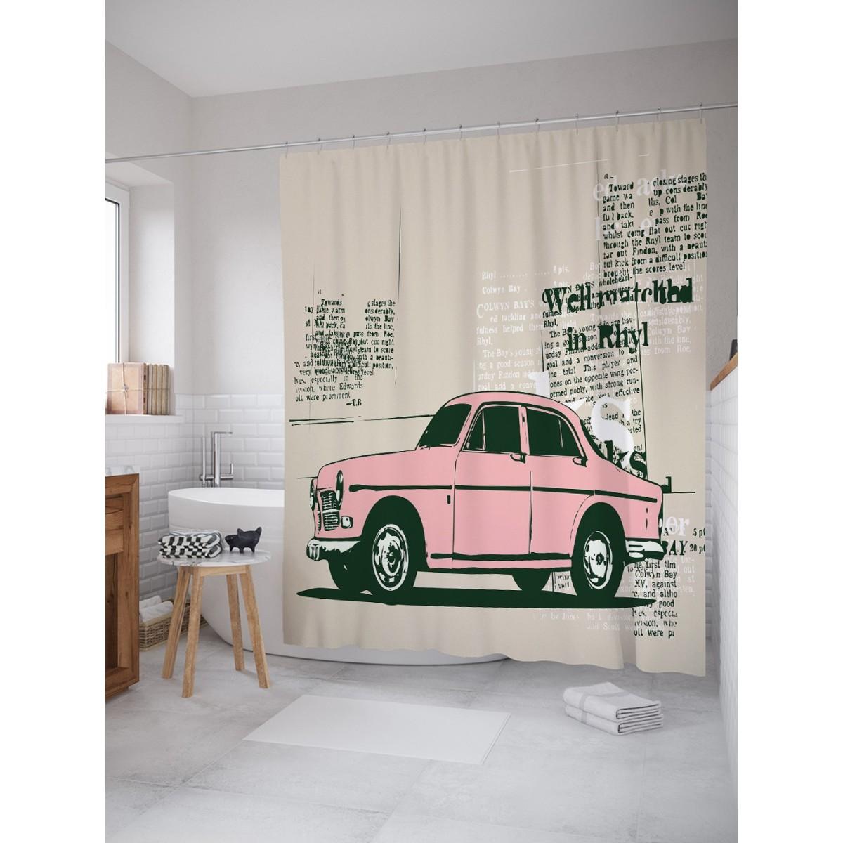 Шторка для ванной Ambesonne Автомобильная газета 180х200 см