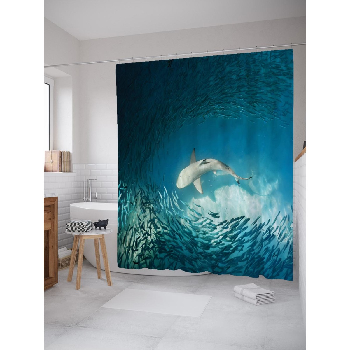 Шторка для ванной Ambesonne Акула в косяке рыб 180х200 см