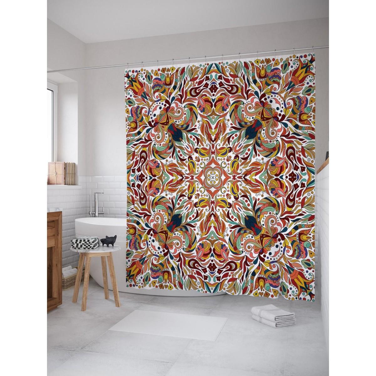 Шторка для ванной Ambesonne Геометрические цветы 180х200 см