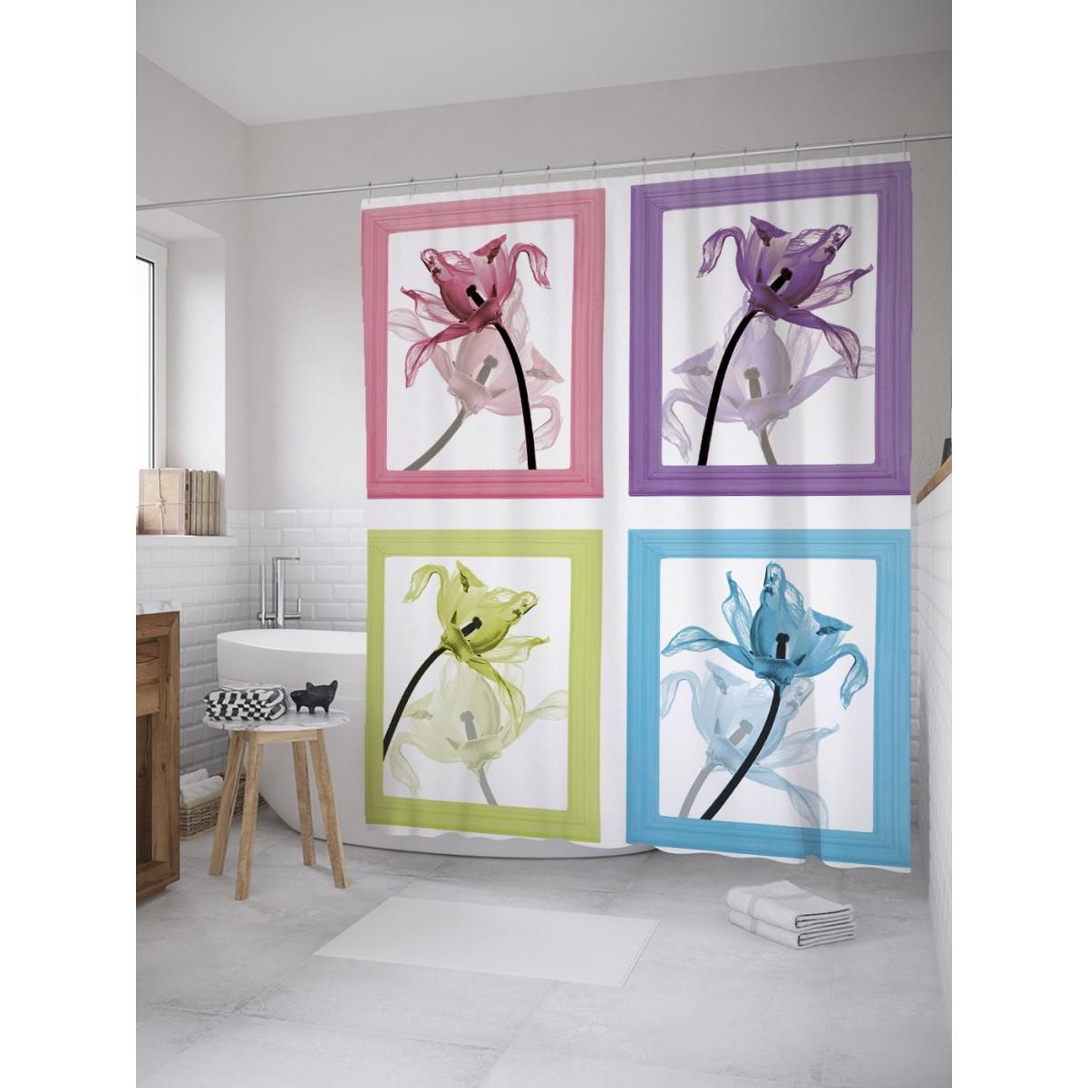 Шторка Для Ванной Цветочные Картины 180Х200