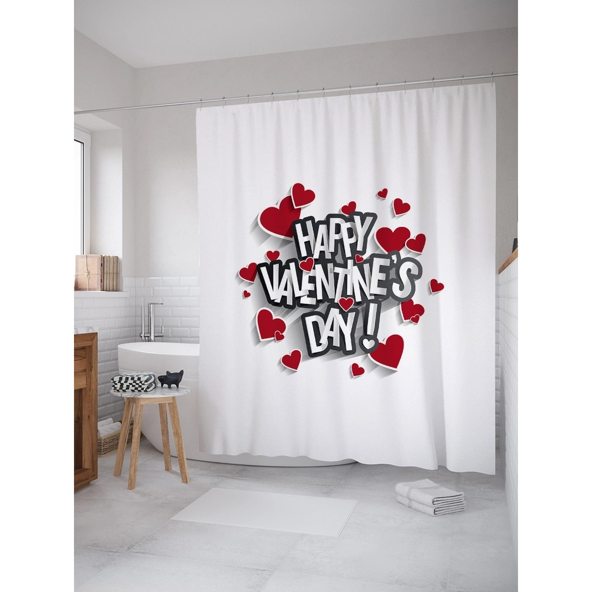 Шторка Для Ванной Happy Valentines Day 180Х200