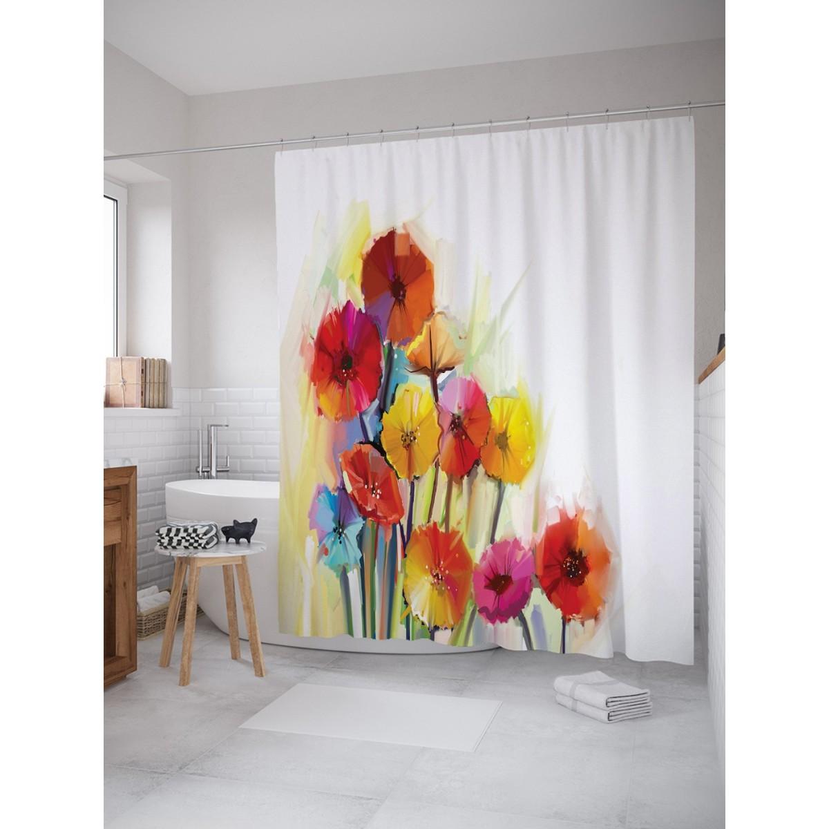 Шторка Для Ванной Цветочные Краски 180Х200