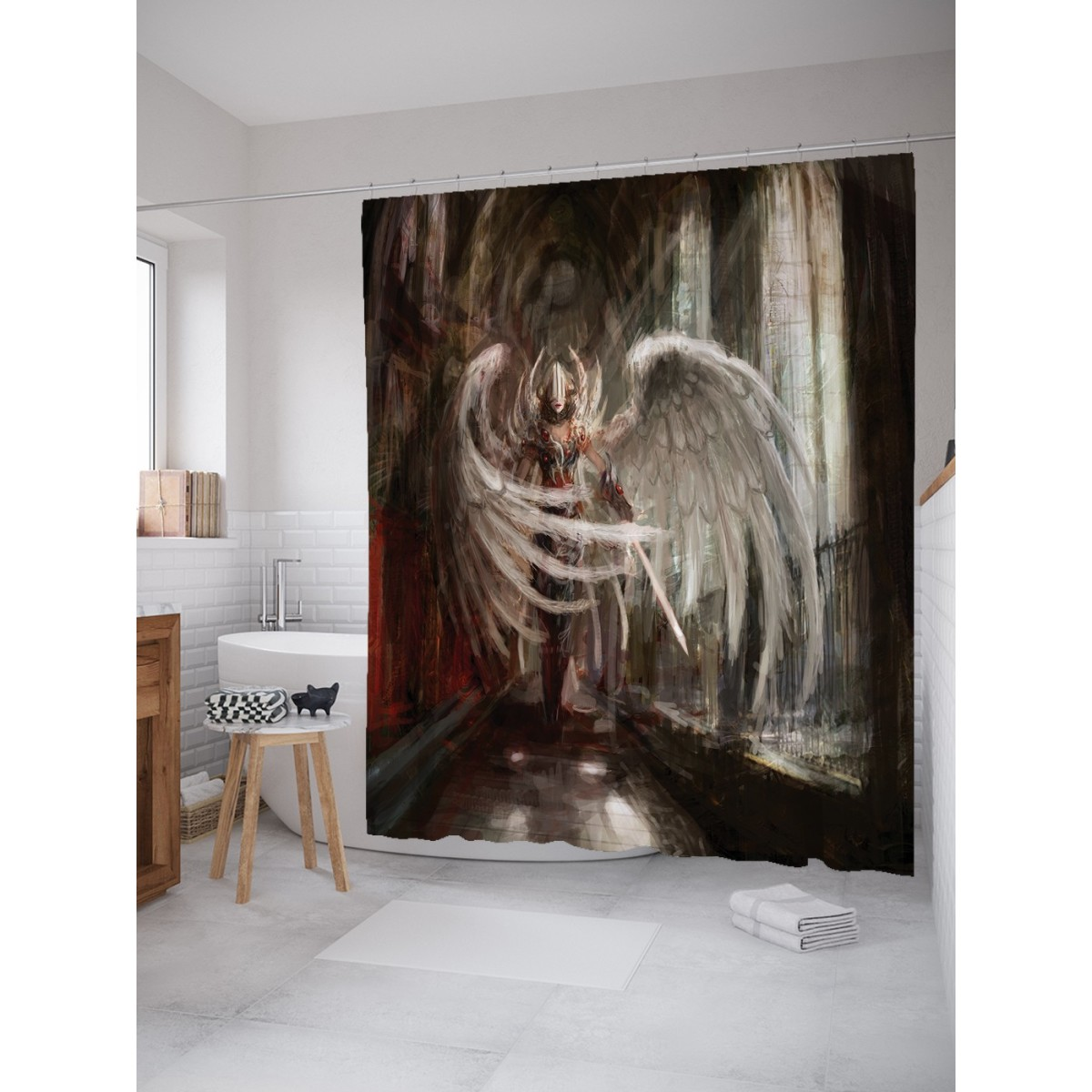 Шторка для ванной Девушка-воин с крыльями 180х200 см