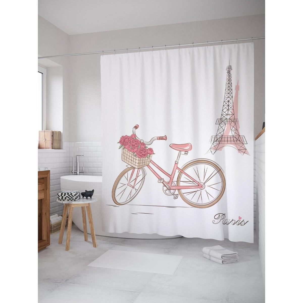 Шторка Для Ванной Цветочный Велосипед В Париже 180Х200