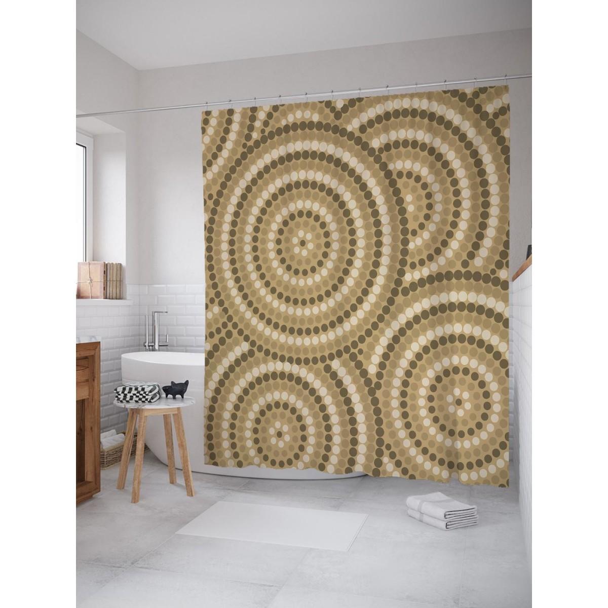 Шторка для ванной Аборигенная картина многоточия 180х200 см