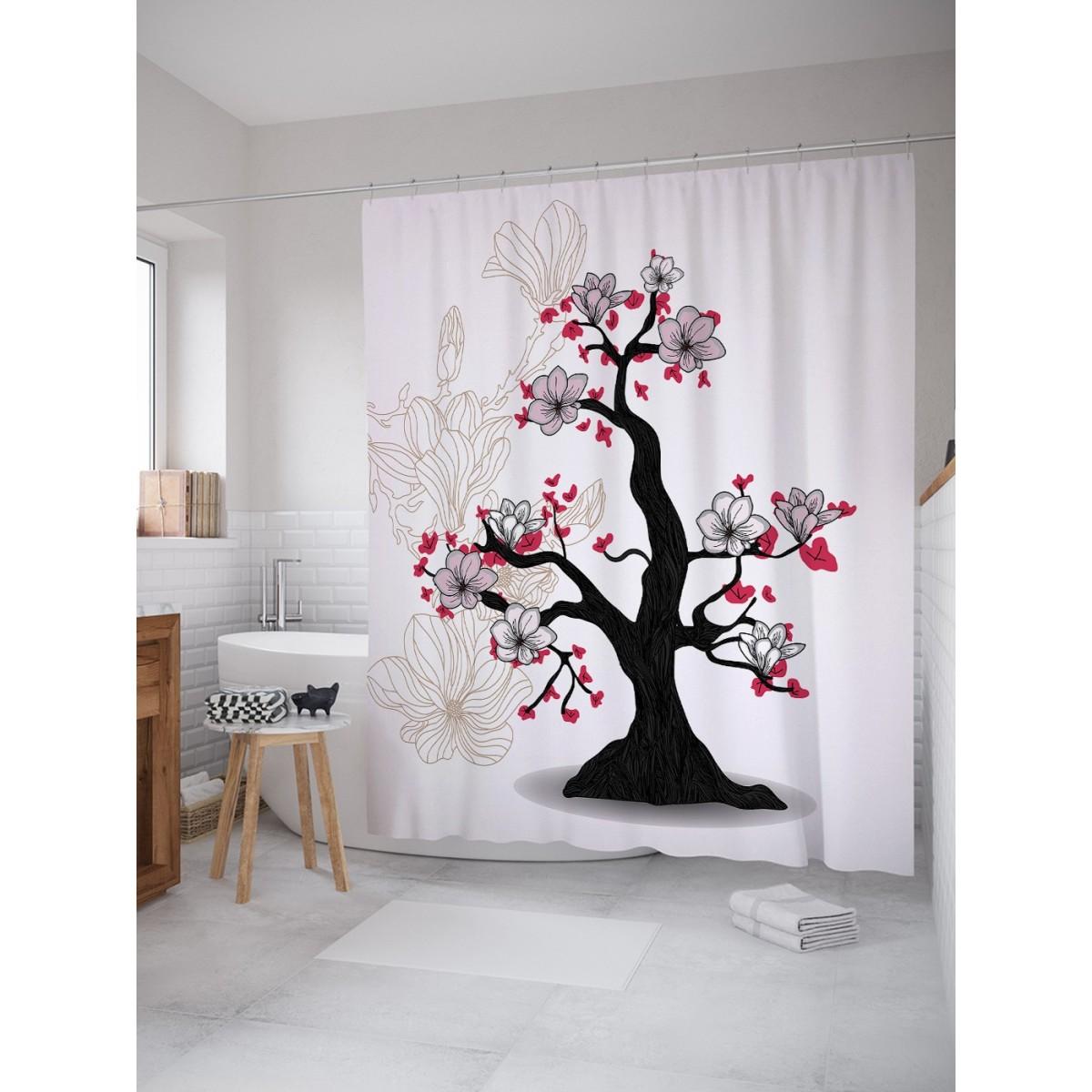 Шторка Для Ванной Цветочное Дерево 180Х200