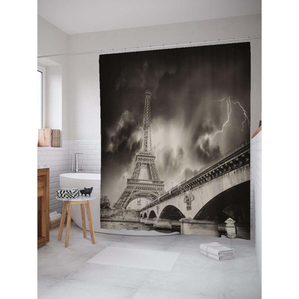 Шторка Для Ванной Гроза Над Парижем 180Х200 Sc_16220