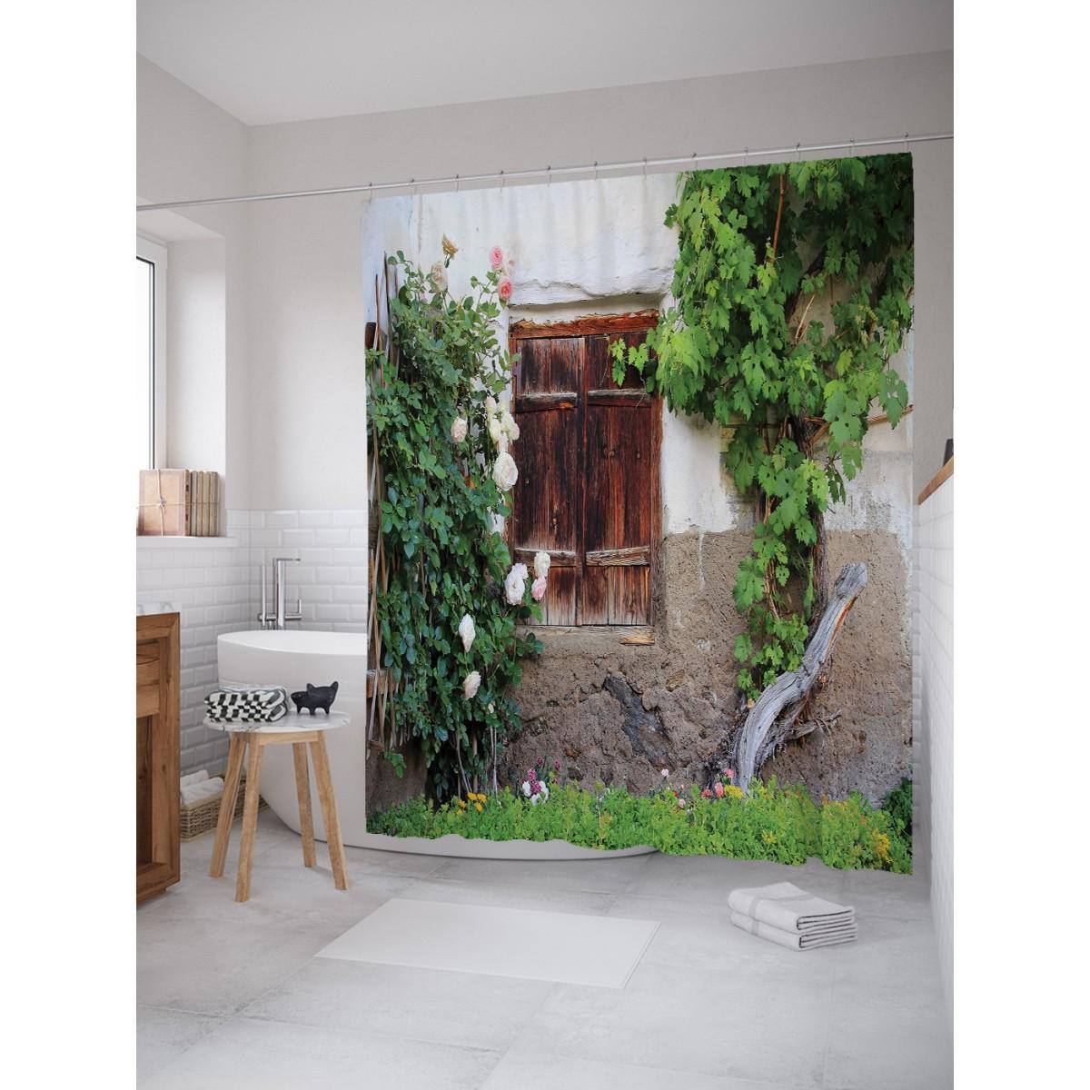 Шторка Для Ванной Цветочный Куст У Окна 180Х200 Sc_18014